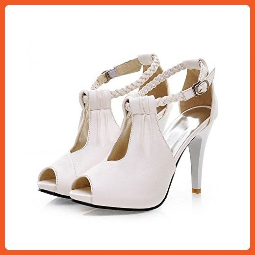 rritoce Rome Style Womens Thin High Heel Shoes Sexy Peep Toe Ankle Strap Sandals Beige7.5 B(M) US Cute - Sneakers for women (*Amazon Partner-Link)