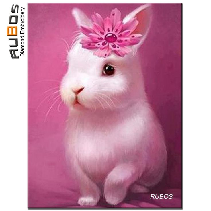 RUBOS Pink Cute rabbit 3D Diamond Embroidery Needlework 5D Diy Diamond Painting Mazayka Full Rhinestone Pattern Sale kids Gift #Affiliate