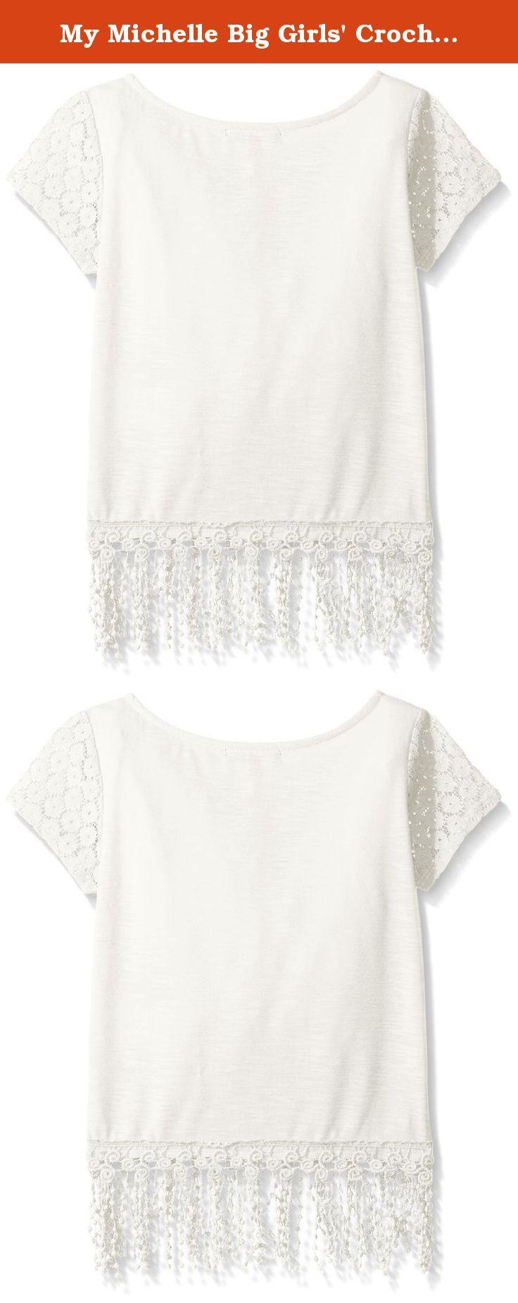 My Michelle Big Girls' Crochet Short Sleeve Top with Fringe Trim At Hem, Off White, X-Large. Solid colored crochet short sleeve top with fringe trim at hem.