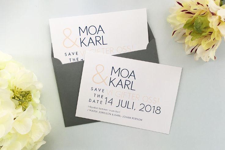 Save the date kortet Pico till bröllop. Kortet har ett modernt och enkelt typsnitt med enkel och snygg design.  Här i våriga färger!  #savethedate #vår #bröllop #enkel #typsnitt #modern #stilren #avslappnad