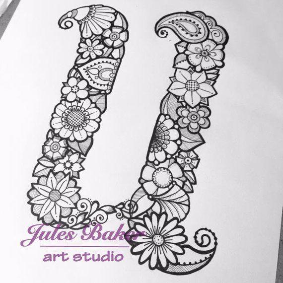 Digital Coloring Page Letter U From Letter Doodles Coloring Book Coloring Pages Doodle Coloring Hand Lettering Alphabet