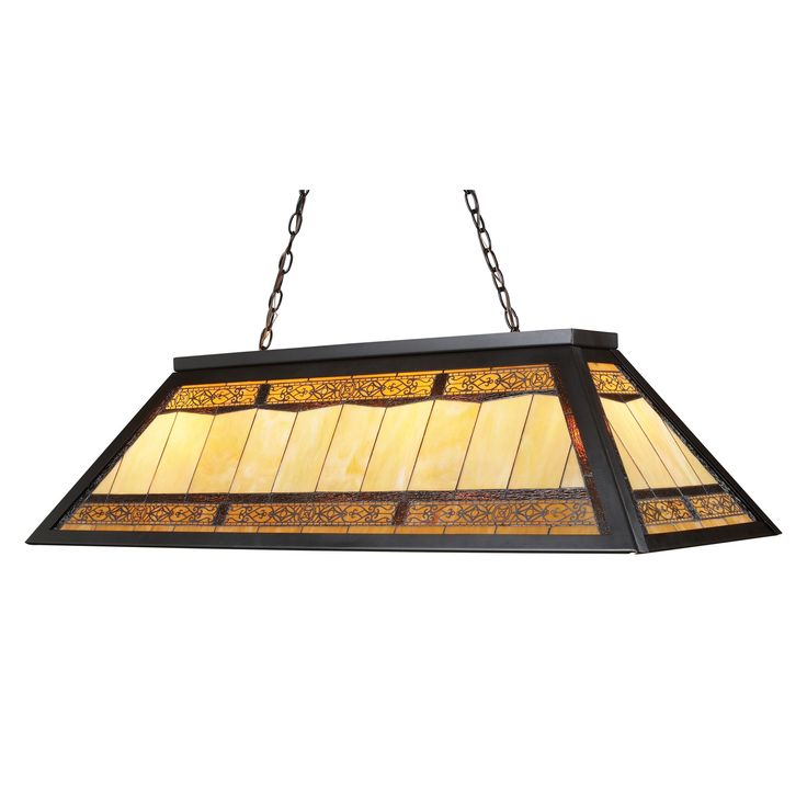 The stained glass Billiard collection in Tiffany Bronze Metal takes its cues from the game, sporting colorful, detailed illustrations and classic Victorian themes. Use over a pool table or kitchen island for optimal illumination.
