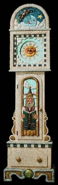Handmade, colorful, full-of-character grandfather clock: Long Cases, Hands Paintings, Hands Carvings, Grandmothers Clocks, Home Decor, Full Of Character Grandfather, Clocks Hourglass, Hands Construction, Grandfather Clocks Lov