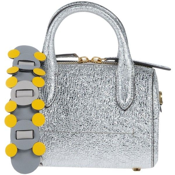 Anya Hindmarch Handbag ($970) ❤ liked on Polyvore featuring bags, handbags, silver, man satchel bag, purse satchel, leather satchel purse, studded purse and studded leather purse