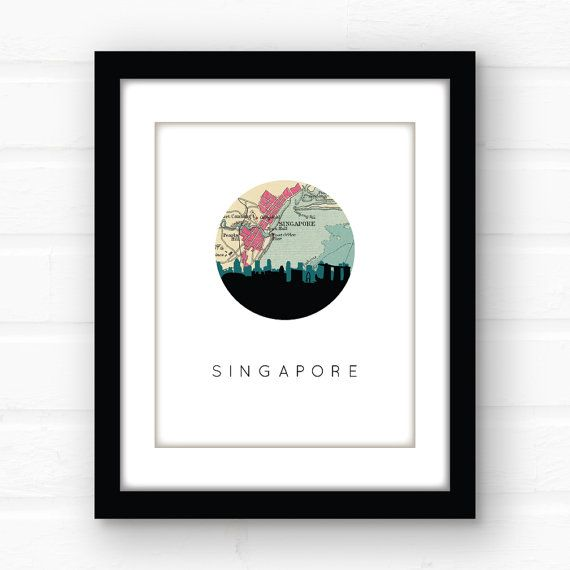 Singapore map  Southeast Asia art  Asia map  by PaperFinchDesign