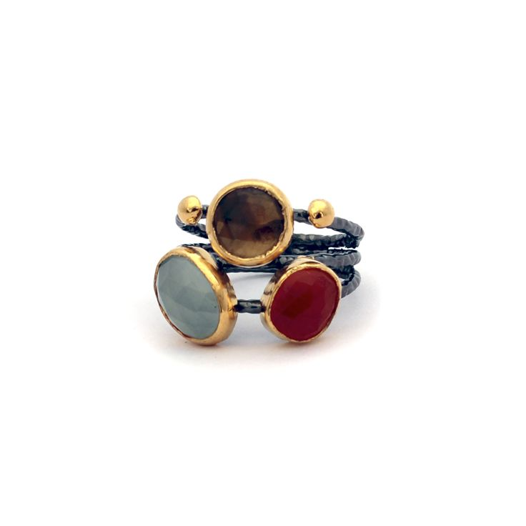 Emel Ring | Emel is Turkish for Desire.  This ring is made from carnelian, mint quartz and smokey quartz. Each stone represents the elements of earth, wind and fire. #GiftIdea #Lifestyle #Ring #Jewellery