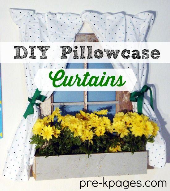 DIY no sew pillowcase curtain tutorial the dramatic play center in your preschool or kindergarten classroom.