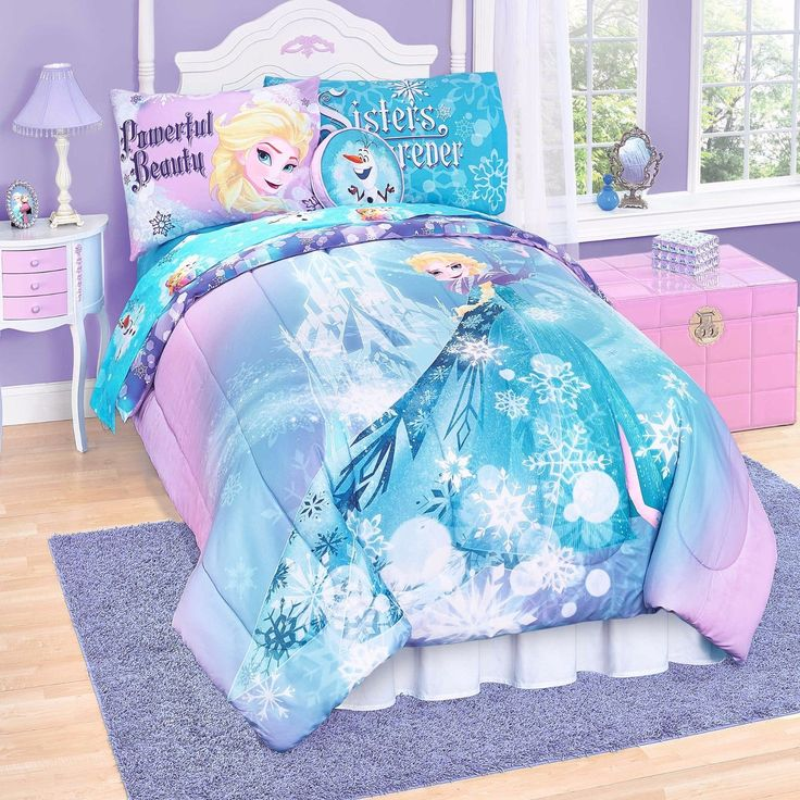 Disney Frozen Elsa Anna 6 Piece Twin Bed Set Reversible Purple Blue Pink Sheets | eBay