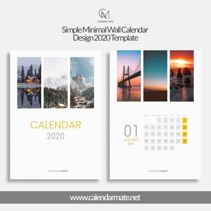 Railey Simple Minimal Wall Calendar Design 2020 Template Psd Kalender Seni Minimalis