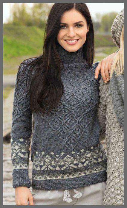 Озорные петельки: Пуловер с жаккардовыми бордюрами