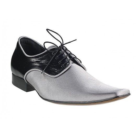 Pánske kožené extravagantné topánky čierno-strieborné PT128 - manozo.hu