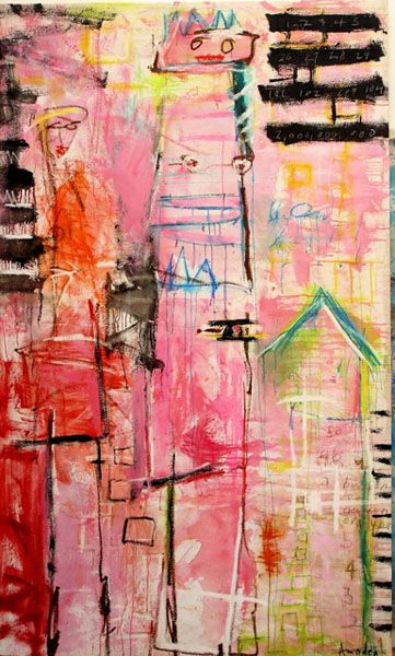 """In The Pink  89"""" x 53"""",  Mixed media on Canvas, 2008"""