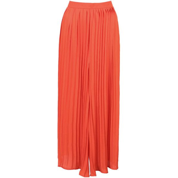 Orange High Waist Pleat Detail  Cropped Palazzo Pants (580.625 VND) ❤ liked on Polyvore featuring pants, capris, pleated palazzo pants, red crop pants, high-waisted trousers, crop pants and red palazzo pants