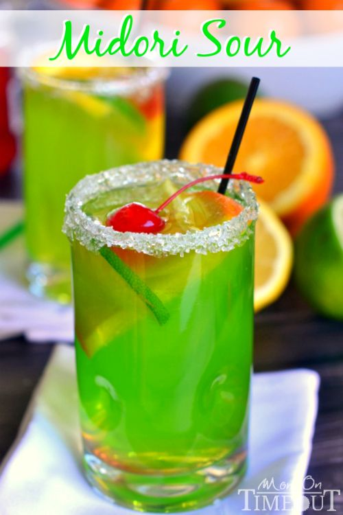 An easy recipe for MIDORI SOUR cocktails!   MomOnTimeout.com