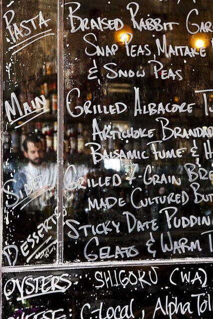 Menu written on window glass...  Five Leaves | Nicole Franzen by Nicole Franzen Photography, via Flickr