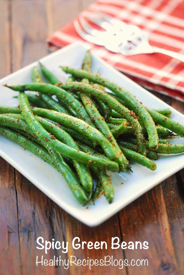 Spicy Green Beans - green beans, olive oil, kosher salt, garlic powder, chili powder, cayenne pepper