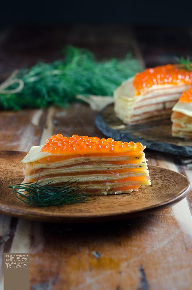 Smoked Salmon Crêpe Cake | Chew Town Food Blog