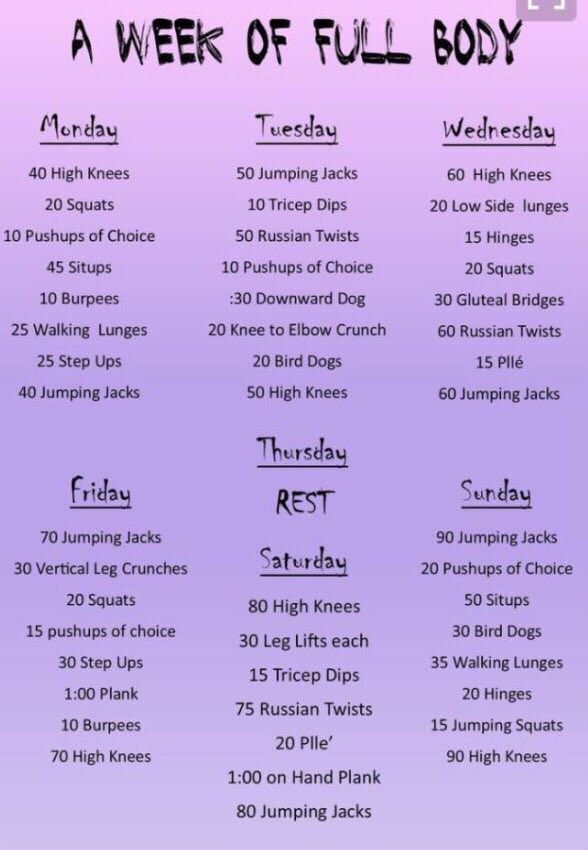 Workout for every day of the week! | At home workout plan ...