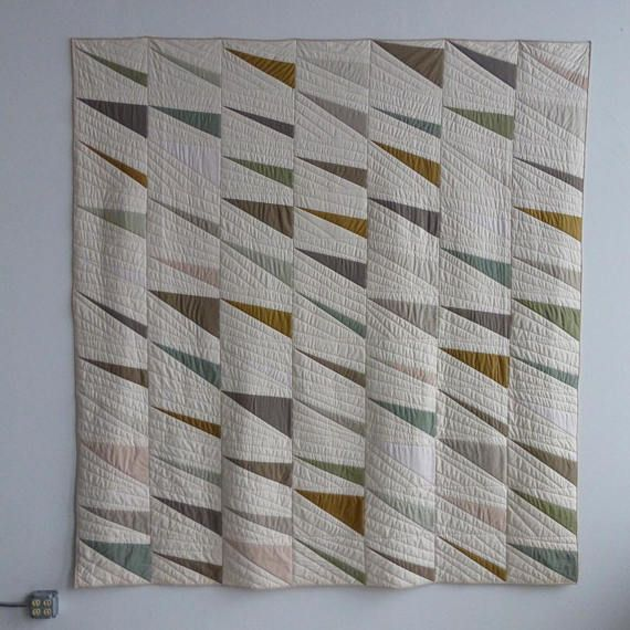 Driven Neutral. Queen quilt made with organic cotton and