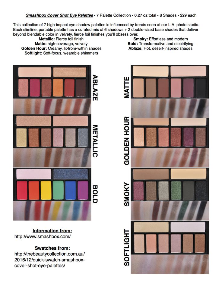 Smashbox Cover Shot Eye Palettes Swatches