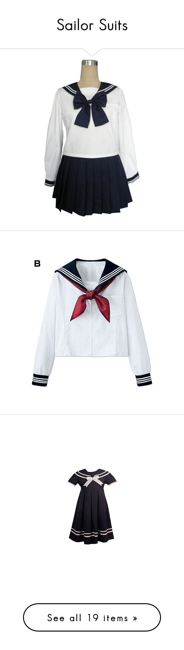 """""""Sailor Suits"""" by yandereotaku ❤ liked on Polyvore featuring costumes, dresses, lolita, uniforms, sailor, sailor halloween costumes, cosplay costumes, sailor costume, cosplay halloween costumes and adult costume"""