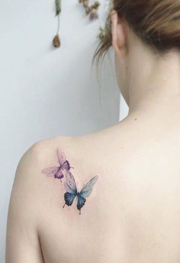 4fee3cfc5 beautiful butterfly tattoo on shoulder | Shoulder tattoos for women ...