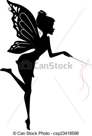 Vector - Fairy Silhouette - stock illustration, royalty free illustrations, stock clip art icon, stock clipart icons, logo, line art, EPS picture, pictures, graphic, graphics, drawing, drawings, vector image, artwork, EPS vector art