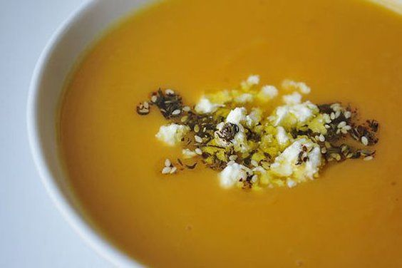 Sweet Potato Soup with Feta and Zaatar Oil from Food52