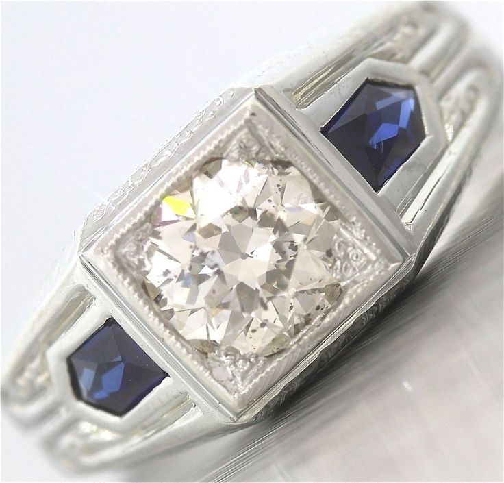 ring h gold rings diamond deco engagement old certified cut sapphire art products