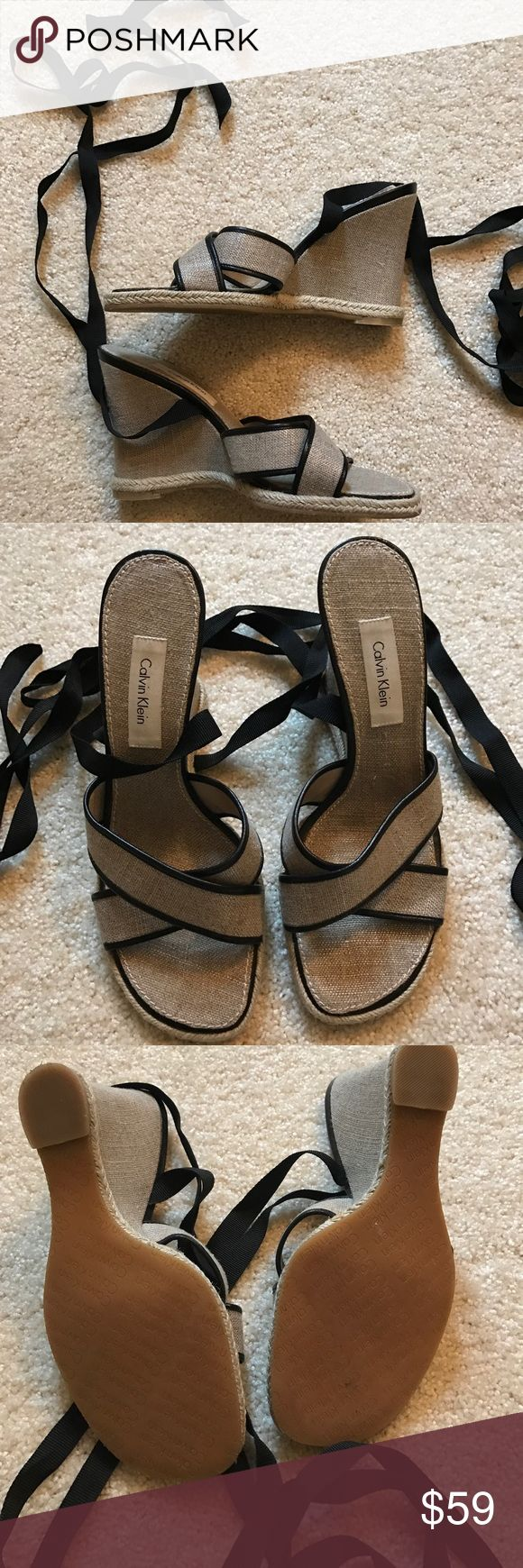 Calvin Klein sandal wedges Calvin Klein wedges. Lace up ankle ribbon. Taupe/Gold with black ribbon. Calvin Klein Shoes Wedges