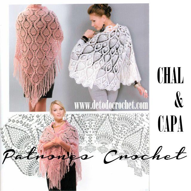 187 best Chal y ponchos a crochet images on Pinterest | Chal de ...