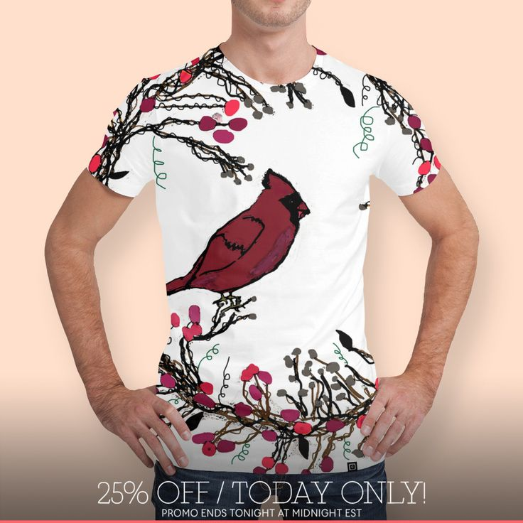 Discover «Winter Wreath and Cardinal», Limited Edition Men's All Over T-Shirt by Deb Quigg - From $49 - Curioos