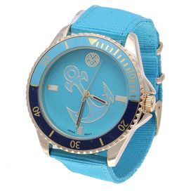 """Add an eye-catching touch to your ensemble with this vibrant watch, featuring a stainless steel case and anchor motif.  Product: WatchConstruction Material: Nylon, metal, and stainless steelColor: BlueFeatures: AnalogDimensions: 1.77"""" W (face)"""