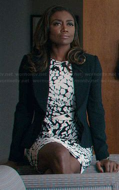 Daisy's black and white animal print dress on Madam Secretary.  Outfit Details: http://wornontv.net/39189/ #MadamSecretary