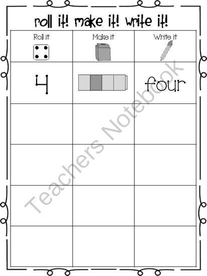 Roll It Make It Write It from The Amazing World of Kindergarten on TeachersNotebook.com -  (1 page)  - This product is perfect for math centers. Your students will have fun while gaining number recognition.