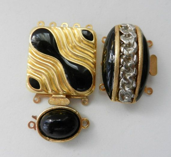 Gorgeous trio of Clasps for Jewelry  Original 1960 by RAKcreations