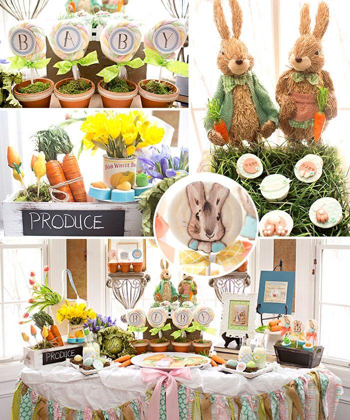 Peter Rabbit Baby Shower | www.celebrationlane.com  J'aime le baby dans des pots de terre cuite