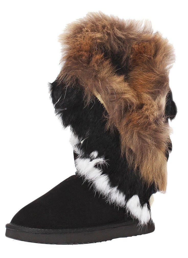 SKUTARI Damen Winter Wildleder Stiefel Indianer Yeti Boots warm gefüttert Schlupfstiefel: Amazon.de: Schuhe & Handtaschen