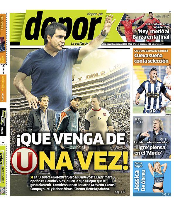 La Portada Impresa Depor del Dia 2015-03-05 del mejor diario deportivo del Peru y el Mundo en Depor.pe