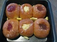 Home made cheats jam doughnuts