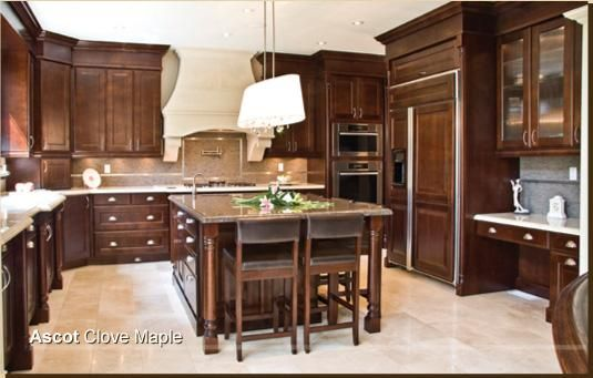 incredible brown color kitchen cabinets | chocolate brown kitchen light floors AHHH and I love how ...