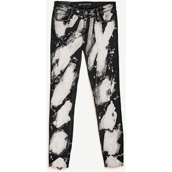 PRINTED POWER STRETCH JEANS - NEW IN-TRF-COLLECTION SS/17   ZARA... (225 HRK) via Polyvore featuring jeans, stretch jeans, stretchy jeans, super stretch jeans, white stretch jeans and white jeans