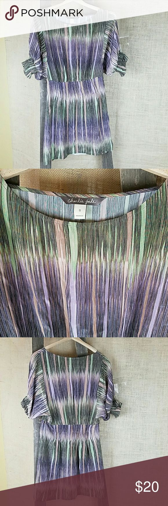 """Charlie Jade womens S 100% silk striped tunic Charlie Jade womens S/Small 100% silk striped tunic shirt short sleeve. Missing the belt.  Under arm to under arm: 15"""" Dress length: 32.5"""" Charlie Jade  Tops Tunics"""