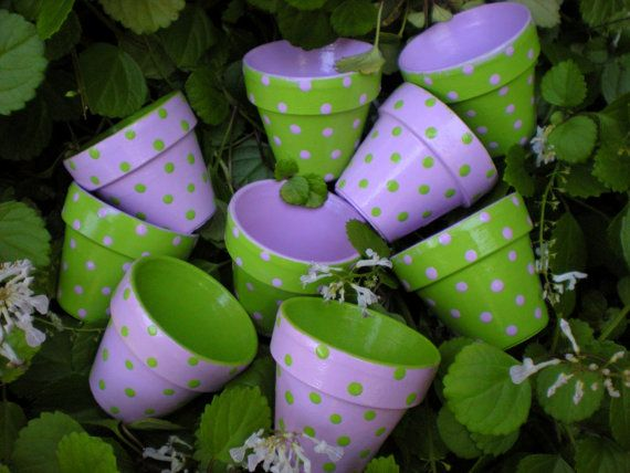 Painted Flower Pot Favors for Weddings - Bridal and Baby Showers - Polka Dots