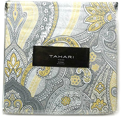 Tahari Home 3pc Duvet Cover Set Paisley Medallion Silver: Tahari Home Luxury 300tc Cotton Duvet Cover Bedding 3pc