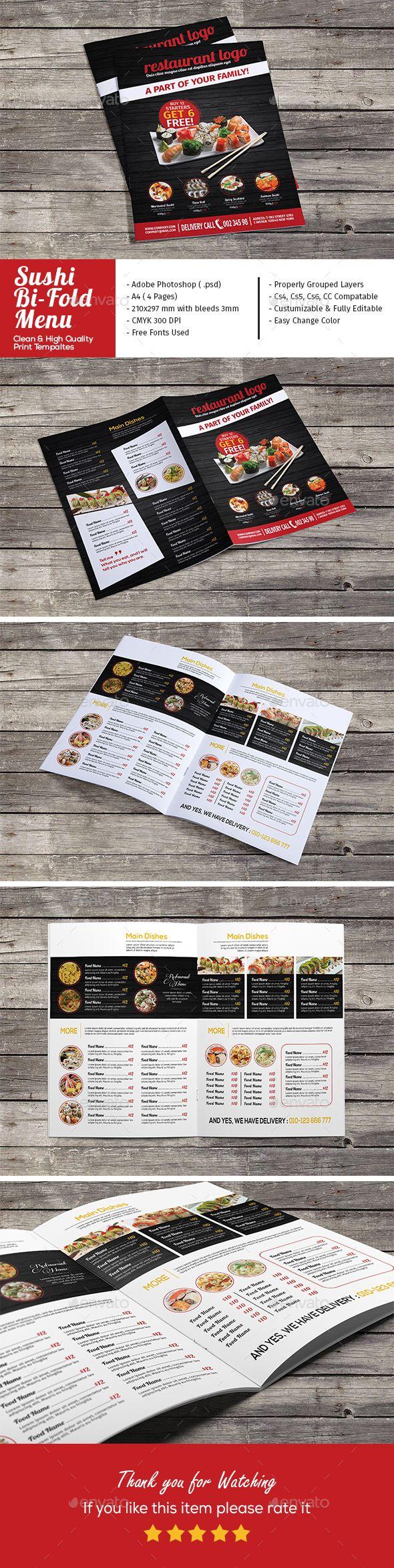 Sushi Restaurant Bi-Fold Menu - Food Menus Template PSD. Download here: http://graphicriver.net/item/sushi-restaurant-bifold-menu/16726272?s_rank=140&ref=yinkira