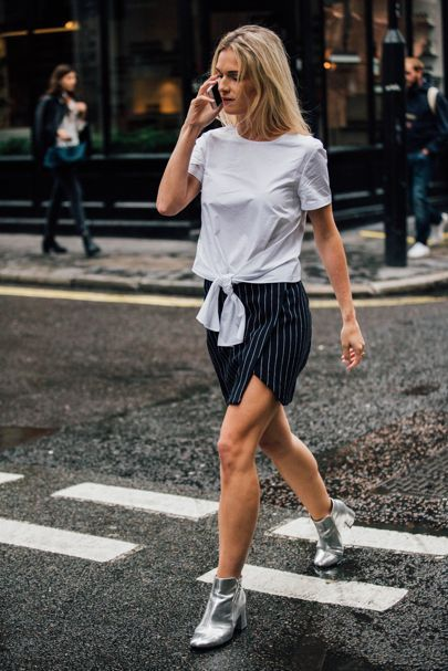 10 Street Style Looks You Can Wear Now From The Spring Summer 2017 Shows | British Vogue - Mini skirt + ankle boots + less-than-simple blouse = a seasonal wardrobe saviour. Whether you're heading for an interview or a first date, by keeping the formula streamlined you can run wild with colours, textures and fabrics.