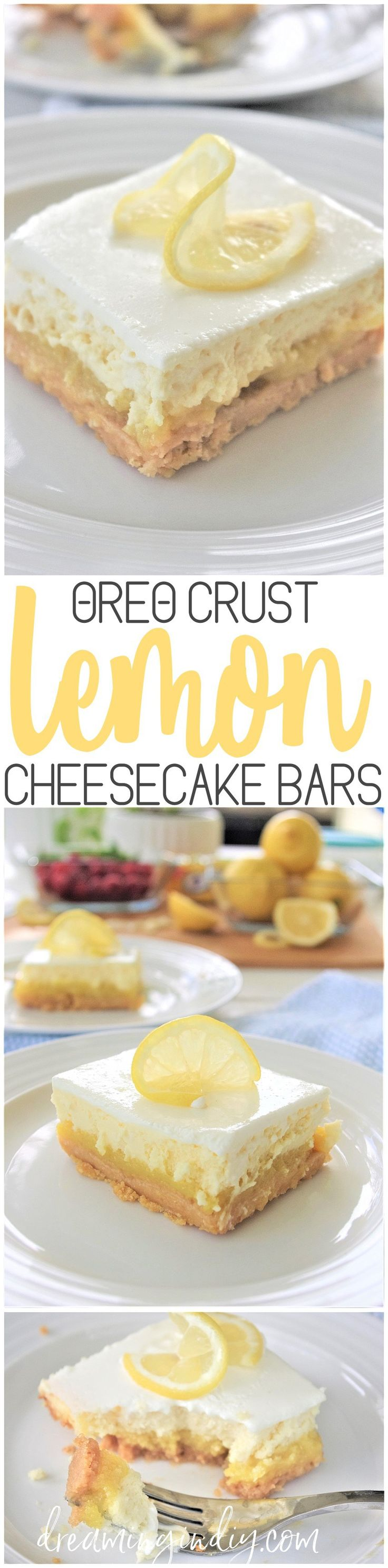 Mother's Day Brunch Treats Recipe - Oreo Crust Easy Sour Cream Lemon Layered Cheesecake Dessert Bars Recipe via Dreaming in DIY - Layers of buttery lemon oreo crust, smooth lemon zested filling, creamy, light cheesecake and topped off with lusciously sweet sour cream.  This is going to be your new favorite lemon dessert recipe for parties and family night!