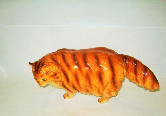 GRAND millésime gingembre Orange Cat Japon chaton moelleux persan type Japon Figurine porcelaine Figure Kitty Cat ? Lefton Napco ? 10 par 4 pouces