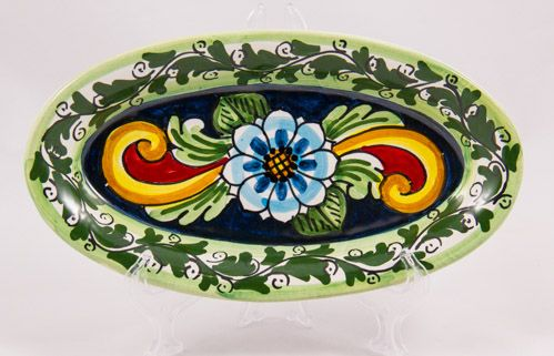 #Souvenir #Plate: #Italy. #Sicily. Blue Flower and Leafs. #Caltagirone #Ceramics. Hand Made. Oval. Diameter 21 cm